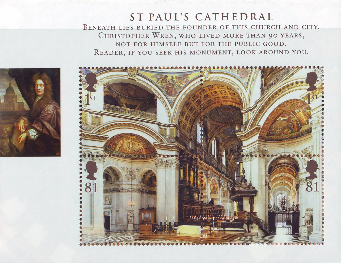 A Miniature Sheet consisting of four stamps that make up a unified image of the inside of St Paul's Cathedral.