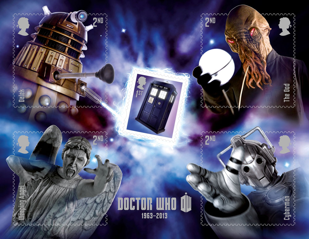 A miniature sheet consisting of four stamps each depicting a villain from Dr Who.