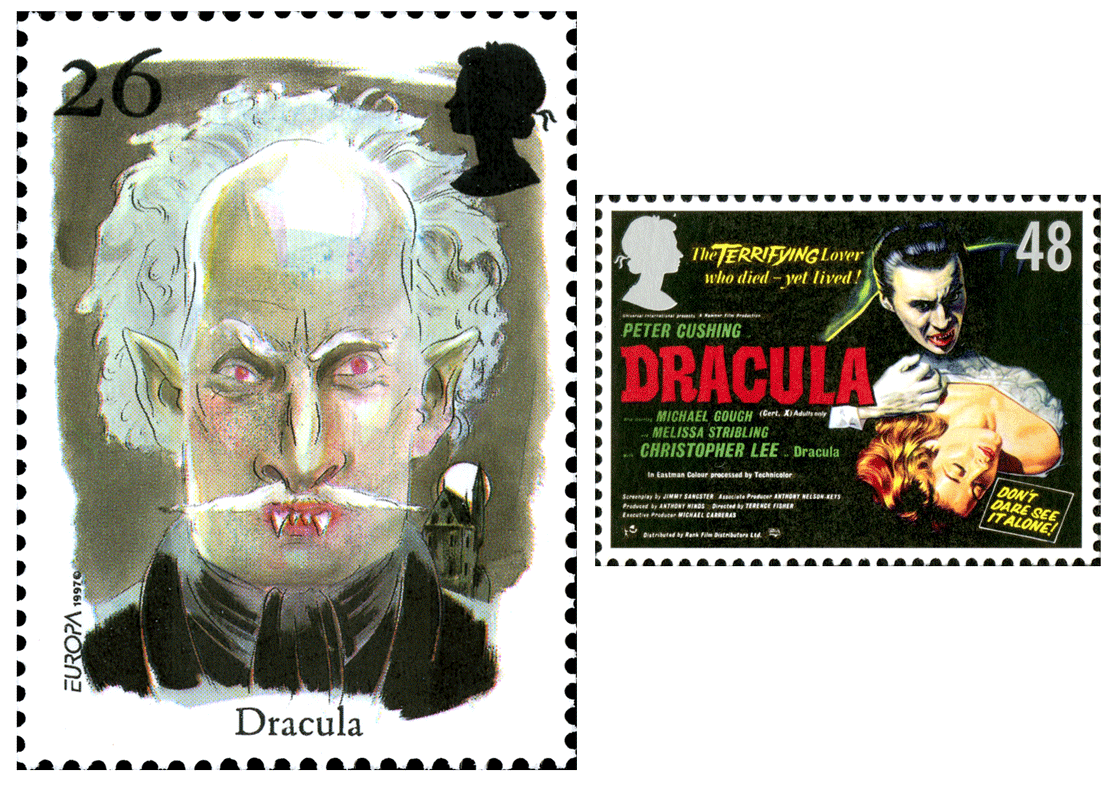 Two stamps depicting Dracula, one as a portrait and the other a Hammer Film production poster.