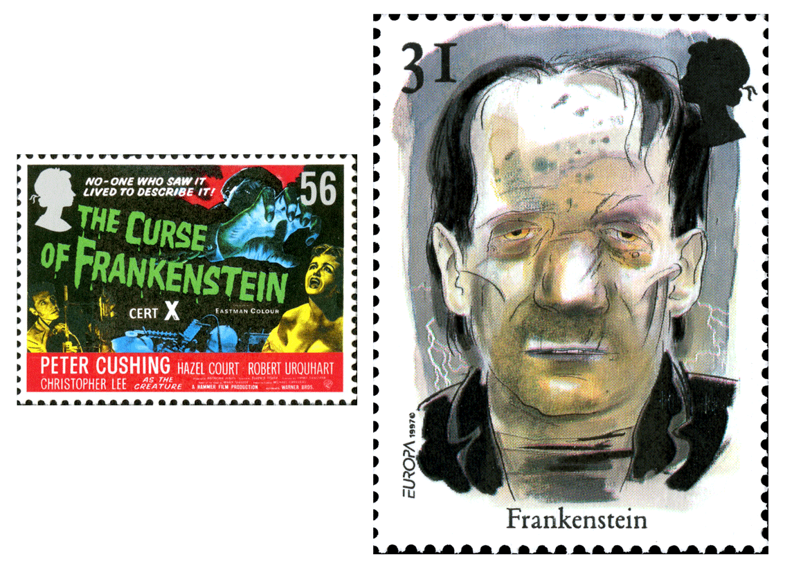 Two stamps depicting Frankenstein, one of the Hammer Film poster and the other a portrait of the creature.