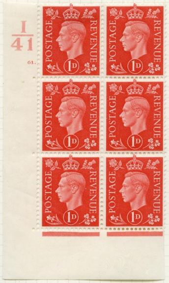 George VI low value definitives: 1d controls (POST 150/GVI/2/027)