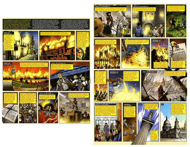 The illustrated graphic novel within the Presentation Pack that documents the fire.