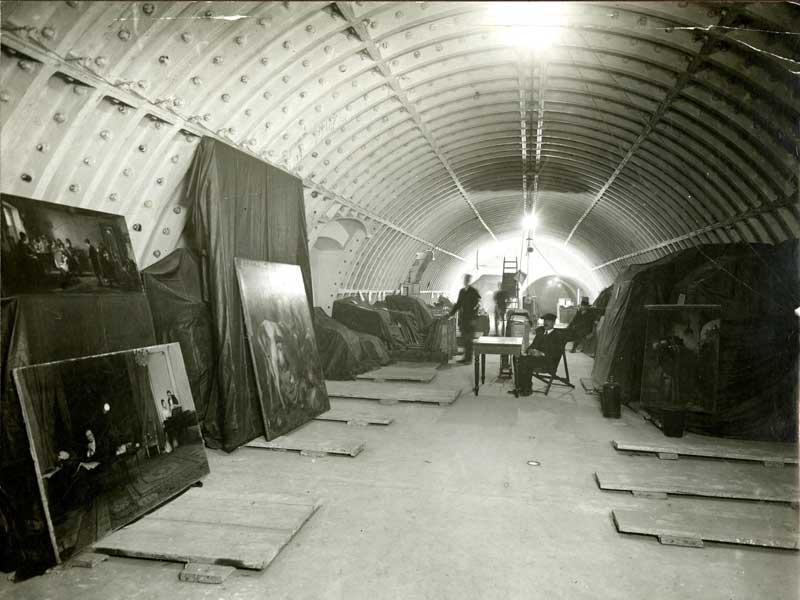Paintings stored in tunnels