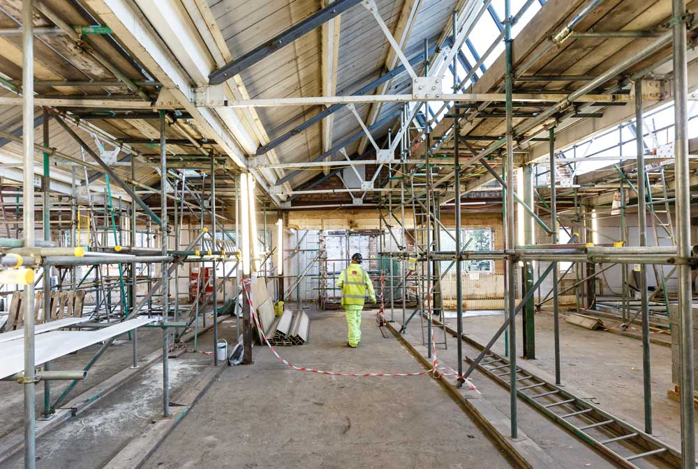 Construction work on the second floor of Calthorpe House