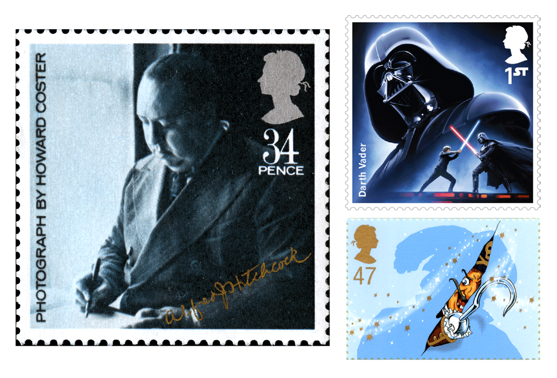 Three stamps depicting Alfred Hitchcock, Darth Vader and Captain Hook.