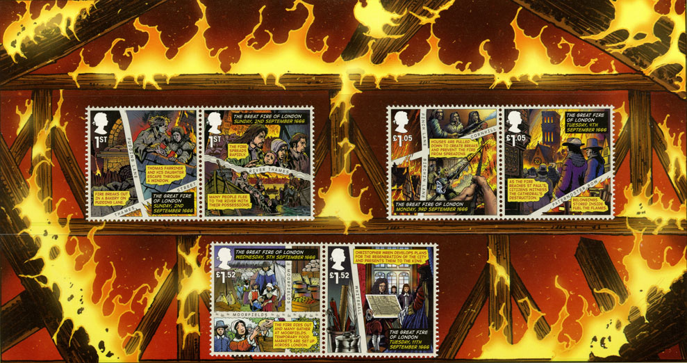 The presentation pack for The Great Fire of London stamp issue, depicting six issued stamps on a burning background.