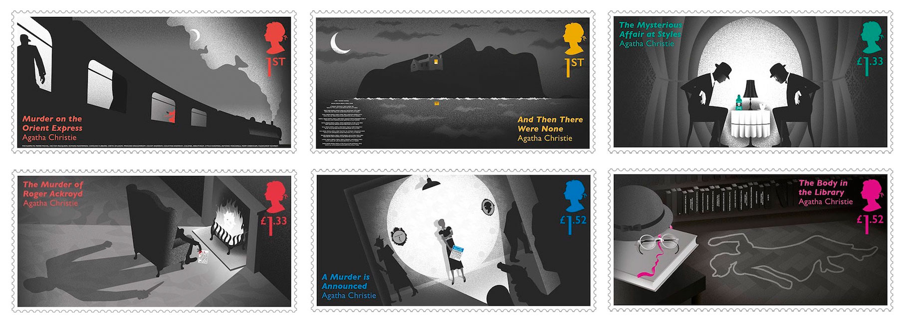 Images of 6 stamps from the new issue