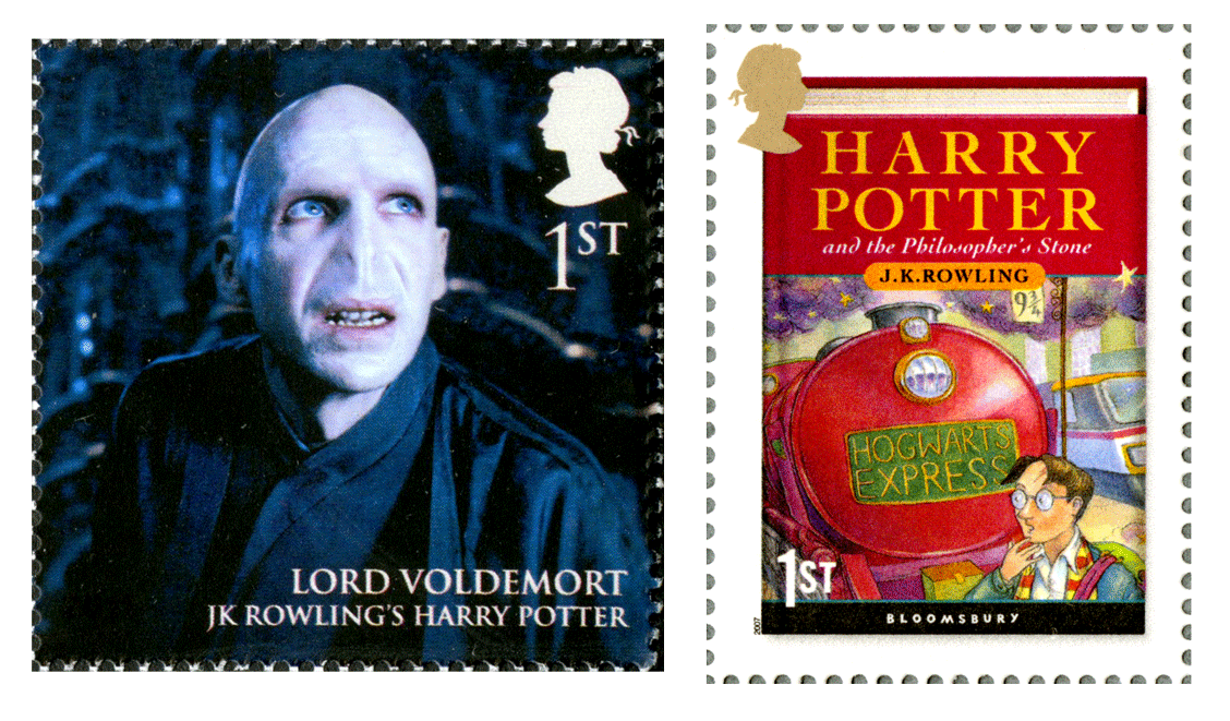Two stamps; one depicts Lord Voldemort and the other the book cover for the first Harry Potter book, The Philosophers Stone.