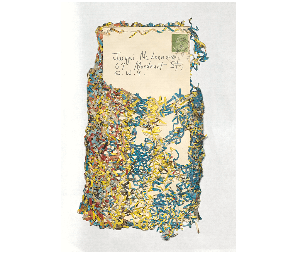An example of mail art from Jacqui McLennan featuring coloured paper shavings