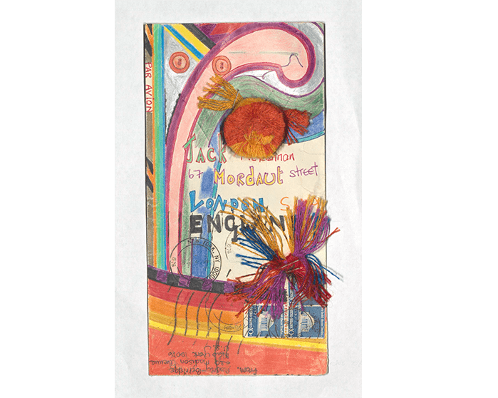 A vividly colourful example of mail art from Jacqui McLennan