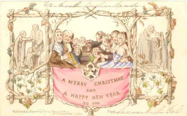 Christmas Card with people drinking and socialising.