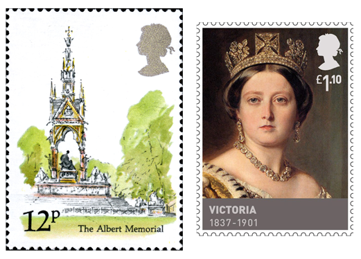 One stamp depicting the Prince Albert Memorial and another of a young Queen Victoria.