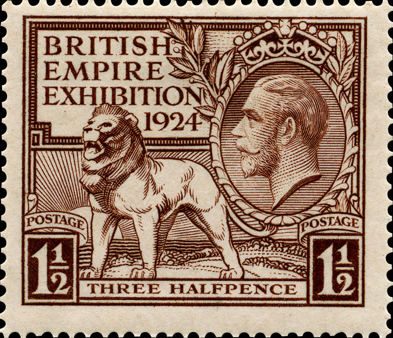 Image of a Lion stood on the land with an image of King George V above.