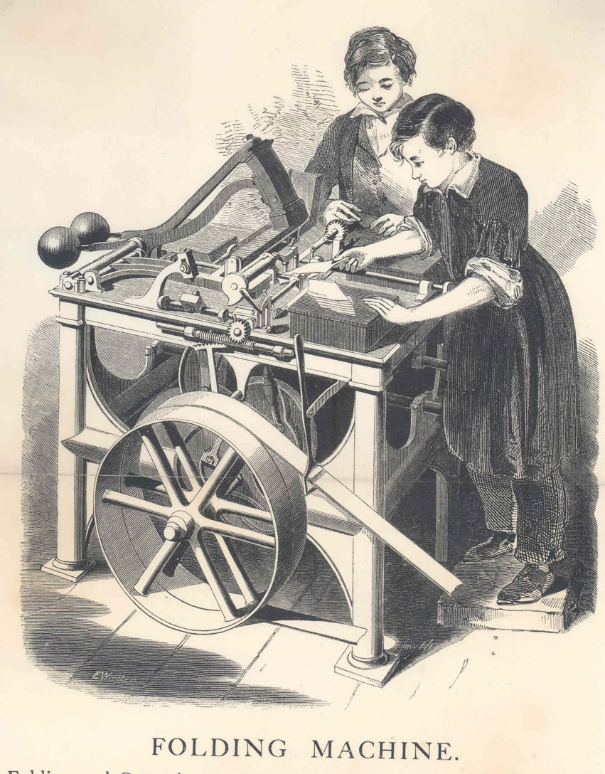 Drawing of the De La Rue envelope folding machine with two boys,