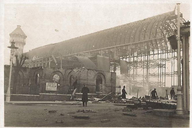 Burnt out shell of Crystal Palace.