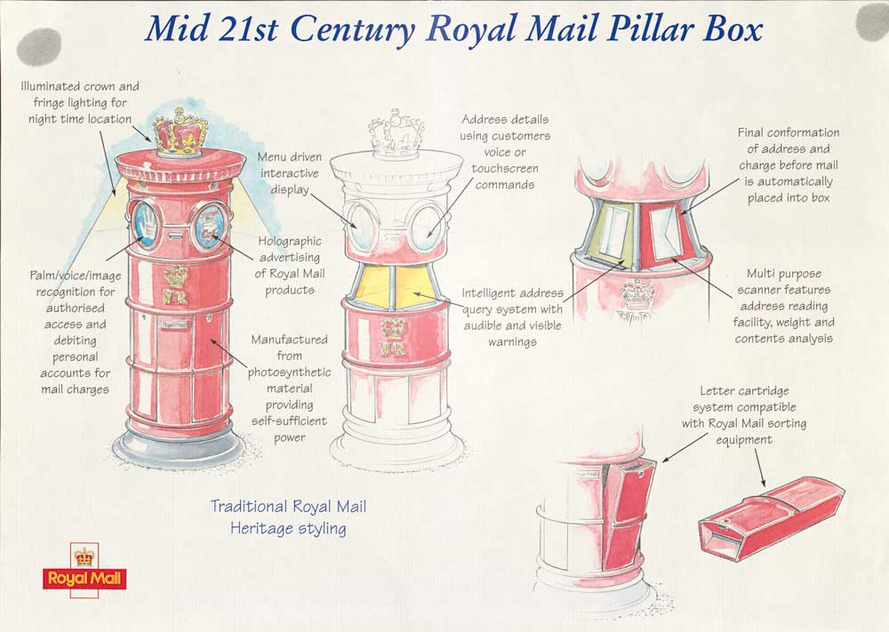 Poster depicting a fantasy mid-21st century pillar box (POST 110/6469)