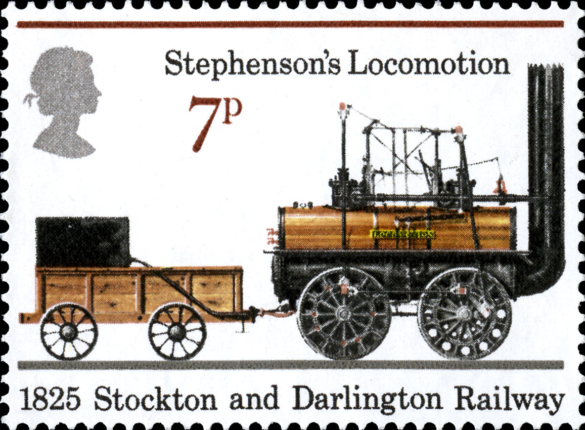 Image of the Stephenson's Locomotive on a stamp.