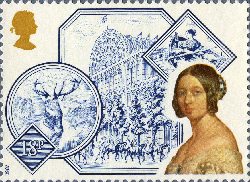 Stamp depicting a young Queen Victoria with Crystal Palace in the background.