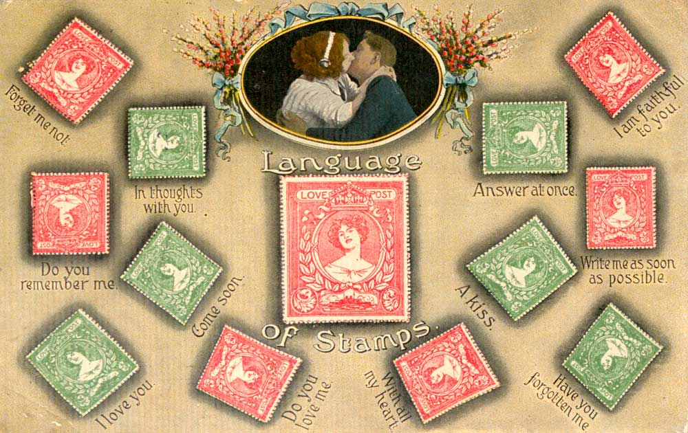 'The Language of Stamps' Postcard, 1915 (2005-0082/73)