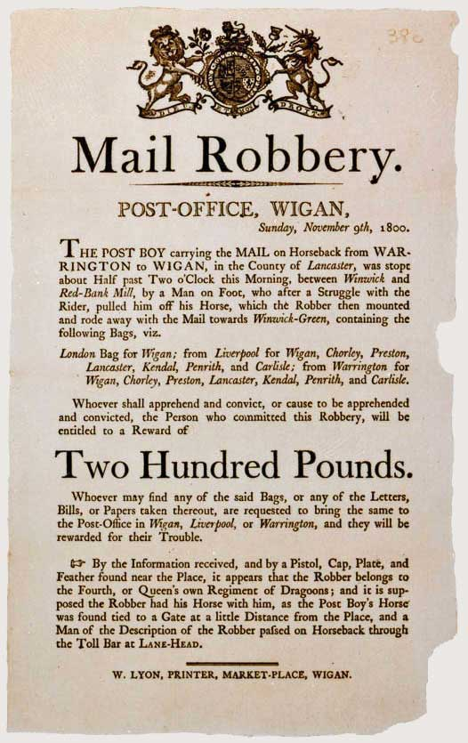 Notice of a mail robbery, 1800 (POST 107)