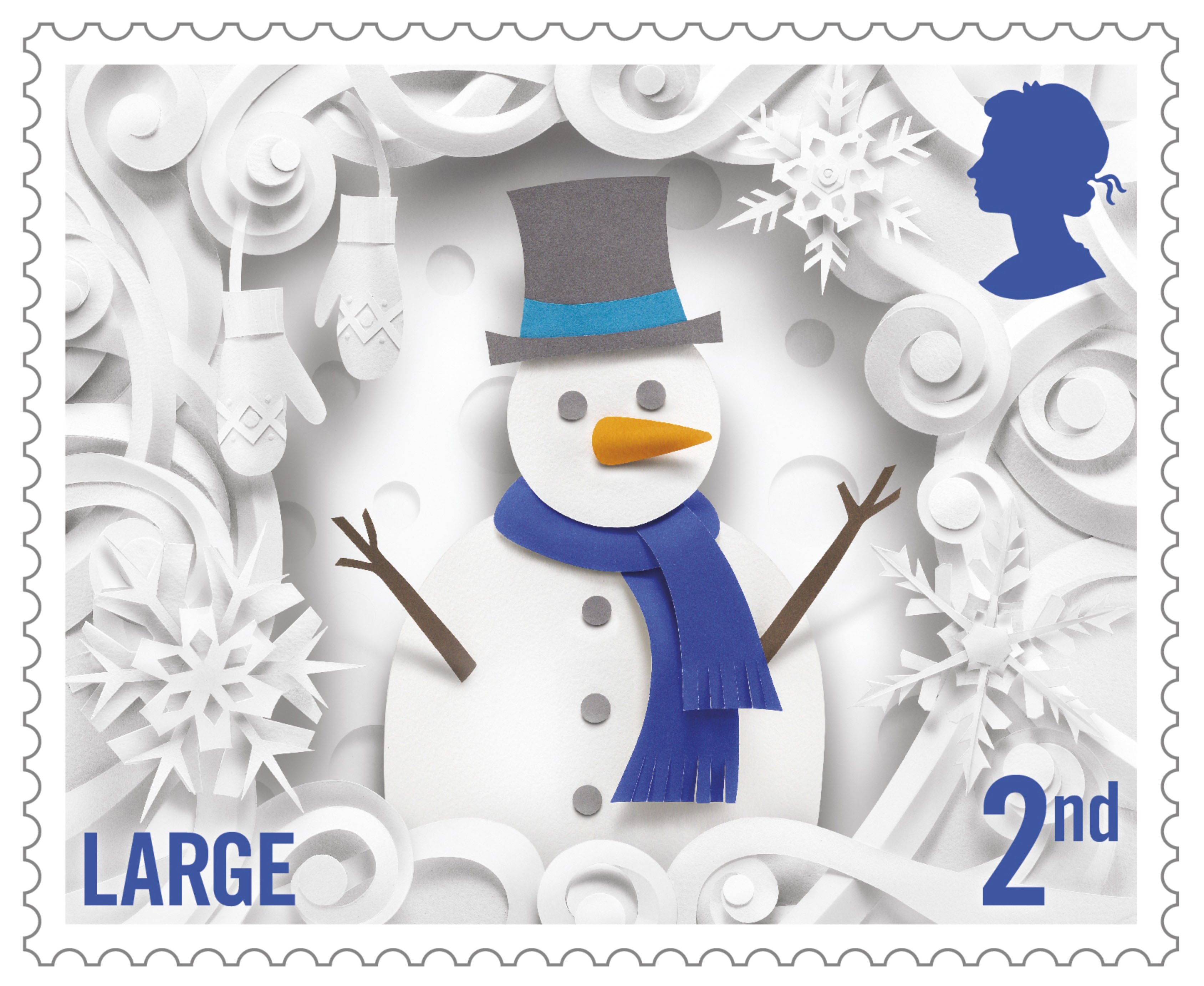 Large image of the second class Christmas stamp with a paper cutting of a snowman surrounded by snowflakes.