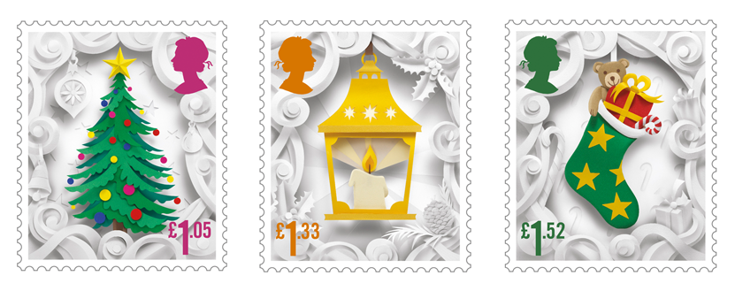 Three stamps depicting a Christmas tree, a lantern and a Christmas stocking.
