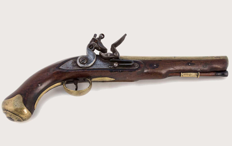 Flintlock pistol, lock plate signed with manufacturer, 'Wilkinson', c.1804 (OB1994.105)
