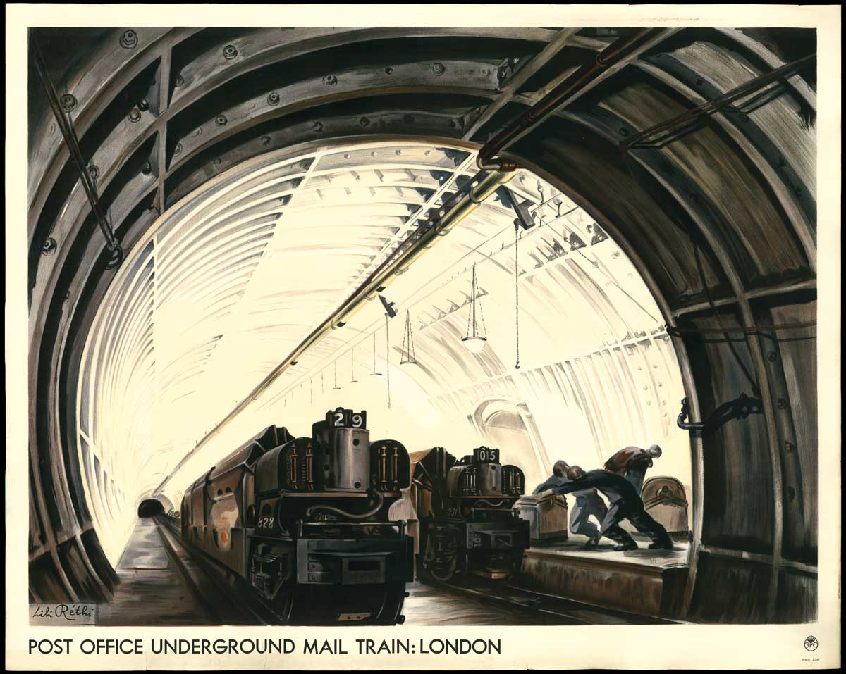 'Post Office underground mail train, London' by Lili Rethi (POST 110/4147)