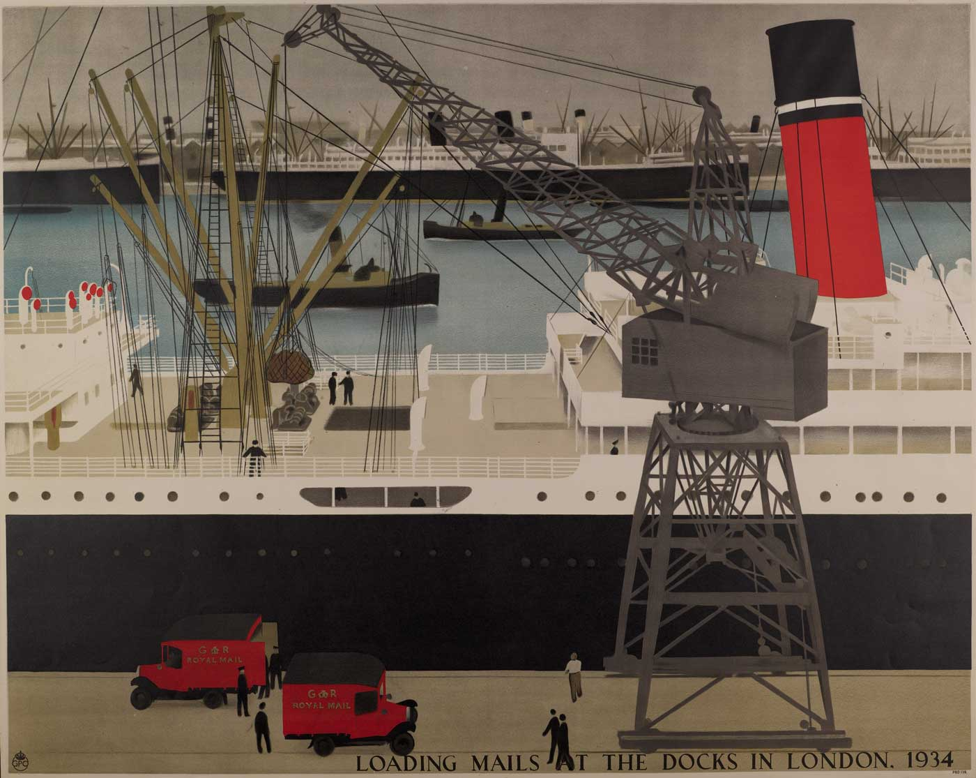"""""""Loading mails at the dock in London"""", by Harold Sandys Williamson (POST 110/3174B)"""