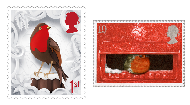 Two stamps depicting robins, one on the left produced from paper cutting and on the right an image of a robin in a pillar box.