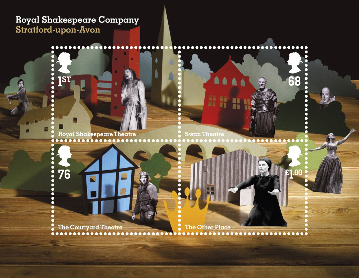 A miniature sheet consisting of four stamps depicting actors and scenery in a collage motif.