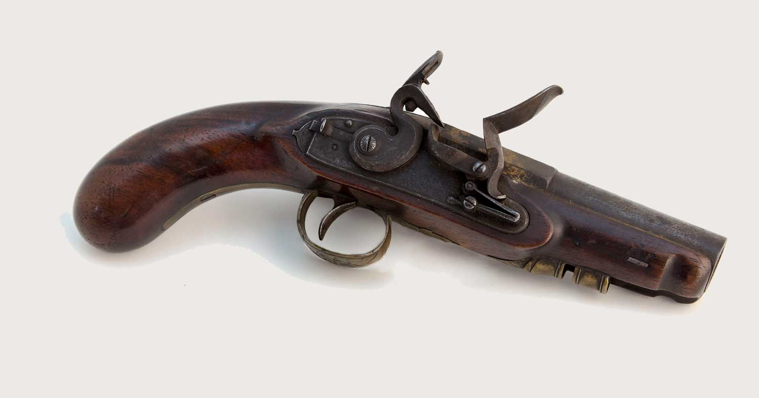 Flintlock pocket pistol engraved with 'J. HARDING & SON/ BOR'O LONDON' (2009-0060/1)