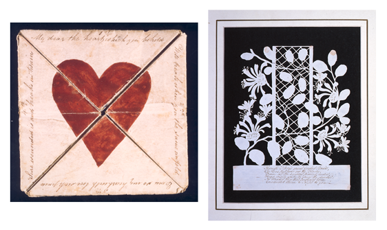 Two valentines cards; on the left a folded card depicting a heart and on the right a silhouette card of flowers and bees.