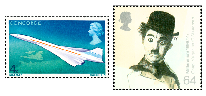 Two stamps depicting an image of Concorde in flight and a drawing of Charlie Chaplin.
