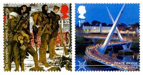 Two stamps depicting a painting of soldiers by Eric Kennington and a photo of the Peace Bridge in Derry.