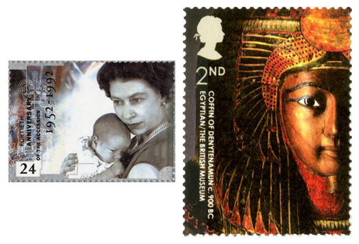 Two stamps depicting the young baby Prince Andrew in Queen Elizabeth's arms and the coffin of Denytenamun from the British Museum.