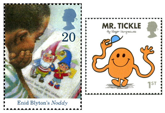 Two stamps, one depicting a boy reading a Noddy story and the other is the book cover of Mr. Tickle.