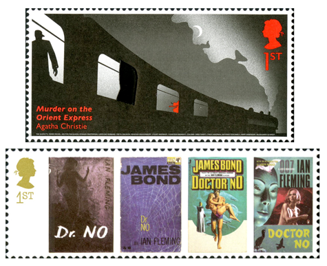 Two stamps, one depicting an illustration of Murder on the Orient Express and the other consists of 4 book covers of Dr. No.