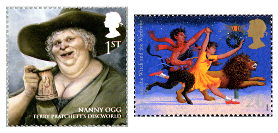 Two stamps depicting a female charcter from Terry Pratchett's Discworld stories and an illustration of the story the Lion the Witch and the Wardrobe.