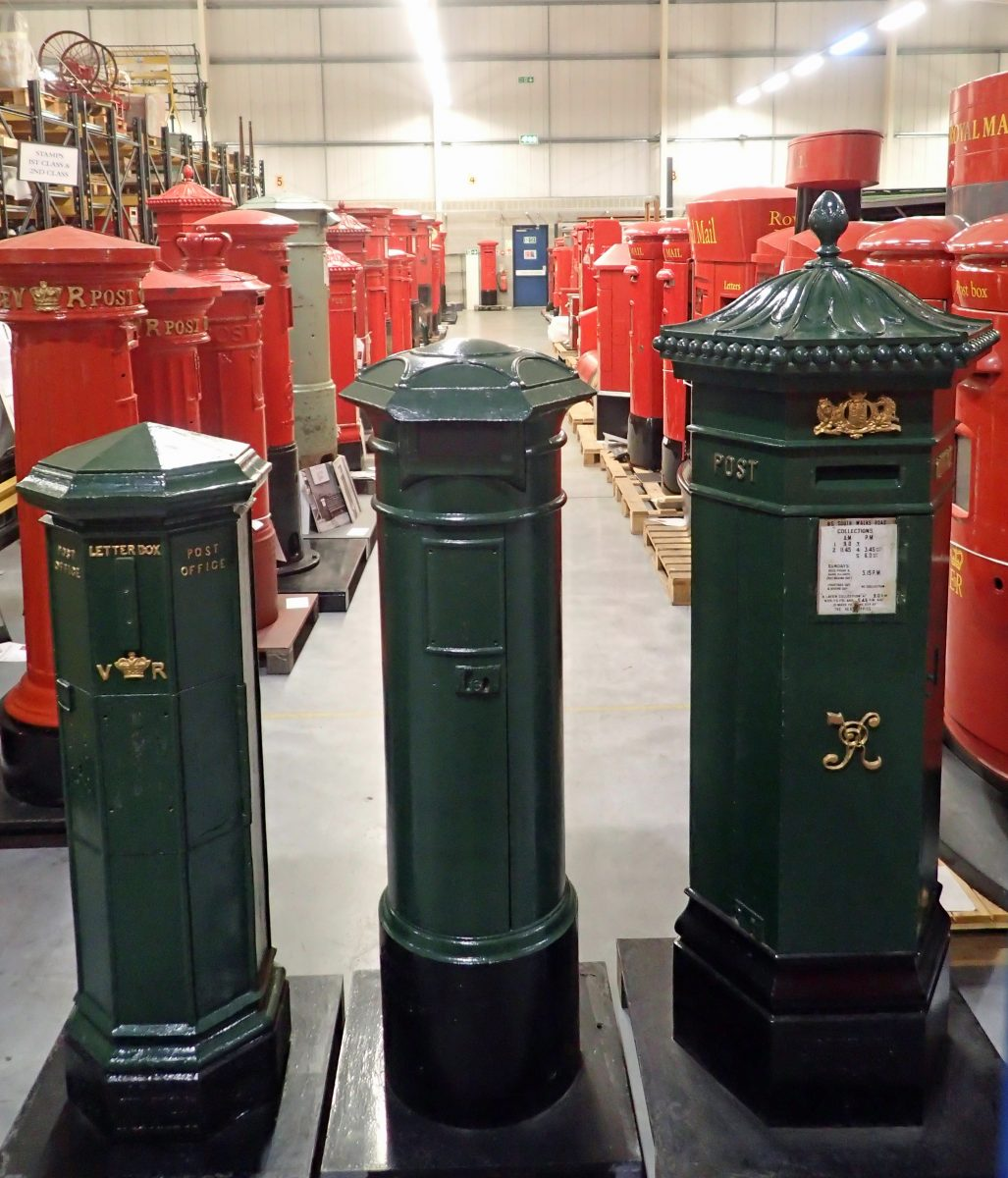 Early Mainland pillar box, First National Standard pillar box and Penfold pillar box; three green painted Victorian pillar boxes in The Postal Museum collection. The author contends that these are painted the incorrect green, additionally being too dark a shade.