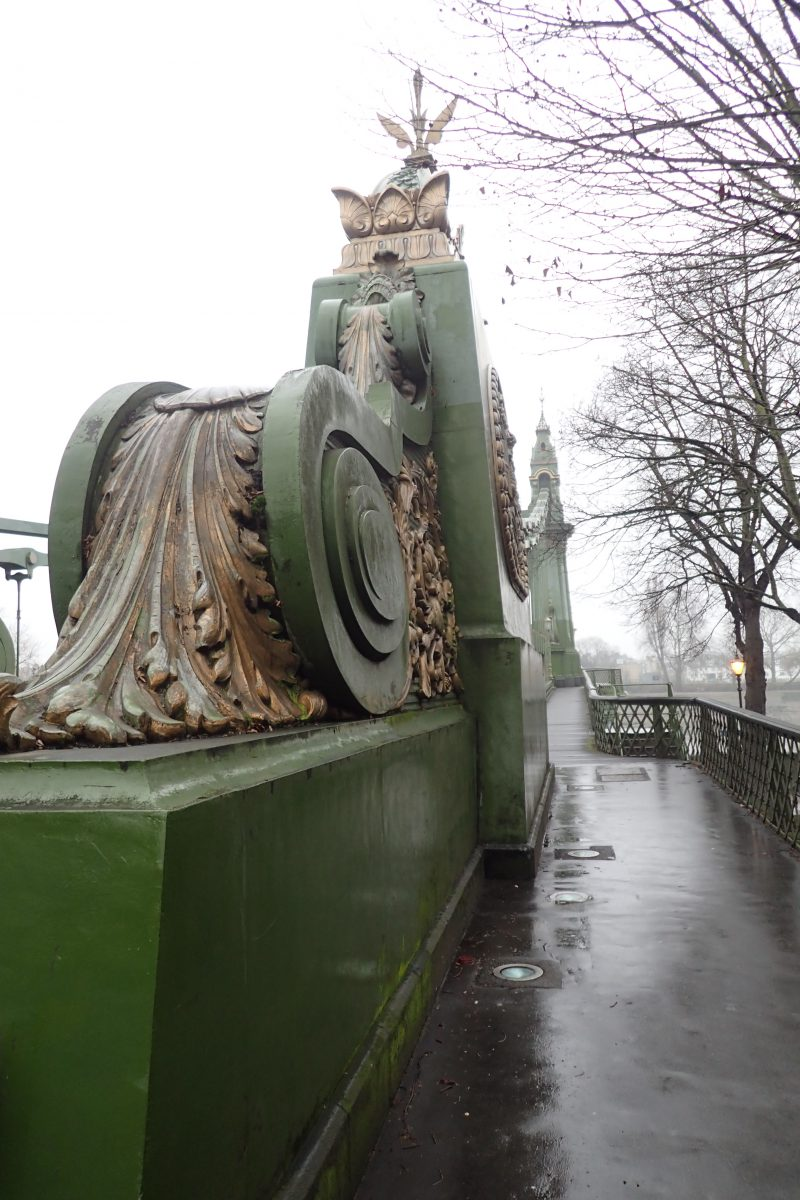 Hammersmith Bridge, 1887, London. Painted mid-Bronze Green