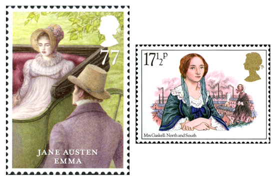 Two stamps, one depicting a scene from Jane Austen's Emma and the other is an illustration of Elizabeth Gaskell with her character Margaret Hale in the background.
