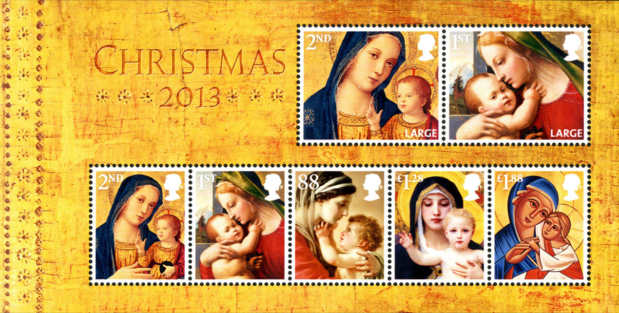 A Christmas miniature sheet depicting five different images of the Madonna and Child.