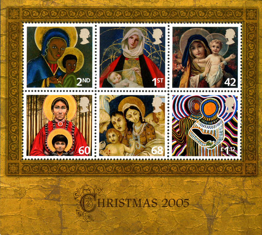 A miniature sheet from Christmas 2005 depicting six different depictions of the Madonna and Child.