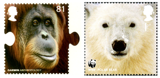 Two stamps; one depicting an orangutan and the other a polar bear.