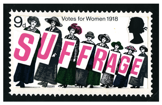 An unadopted stamp deign of eight suffragettes holding each letter of the word suffrage.