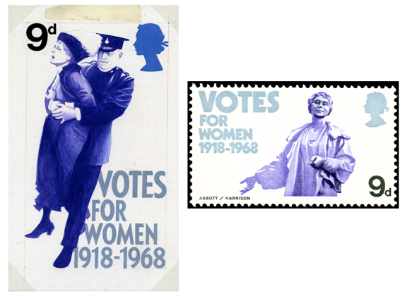 Two stamps, one adopted and one not of Emmeline Pankhurst for the British Anniversaries stamps of 1968.