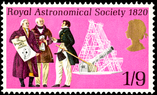 A stamp depicting scientists in front of a telescope.