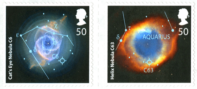 Two stamps depicting scientific images of Nebula.