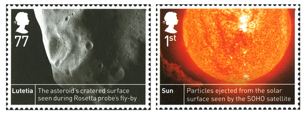 Two stamps; one depicting an asteroid called Lutetia and the other is an image of the sun.